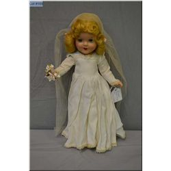 """15"""" Reliable composition bride doll in excellent condition, no cracking or crazing seen, mohair wig"""