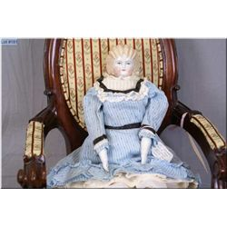 """17"""" German china head doll with rare coiffed blonde sculpted hair, porcelain arms and legs, on cloth"""