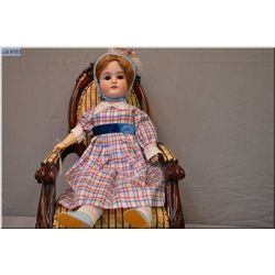 """Antique 25"""" German Cunno & Otto Dressel bisque head doll marked C3 with sleep eyes with fur lashes,"""
