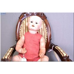 """18"""" Nippon bisque head doll marked no. 76018 /504 with painted hair, sleep eyes on composition baby"""