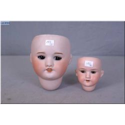 Two antique bisque doll heads including S.F.B.J Paris 60 marked 22, 7, sleep eyes, no cracking or ha
