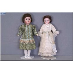 """Two antique bisque head dolls including 12""""-13"""" Armand Marseille """"Darling"""" 13/0 on kid leather body"""