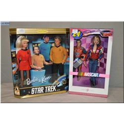 Two new in package Barbie doll sets including Barbie and Ken Star Trek and 2007 Nascar Jeff Gordon d