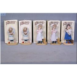 Five boxed Jan Hagara collectible figures including two Jenny, two Anne and Lisa
