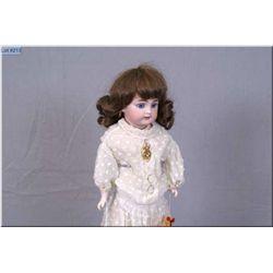 "Antique German 14"" bisque shoulder head doll marked DEP, glass eyes, no cracks or hairlines on kid b"