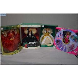 Five new in package Barbie dolls including Talk with Me Barbie with computer and chair and CD with m