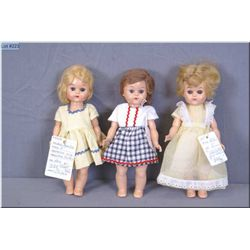 """Three vintage 8"""" hard plastic """"Pam"""" dolls by Fortune Toys, two with saran hair, one mohair, all walk"""