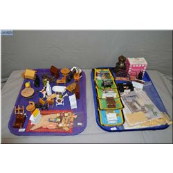 Two tray lots of miniature collectibles including wooden doll house furniture, metal doll house furn