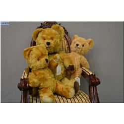 """Three vintage mohair teddy bears including 11"""" mohair bear, jointed with glass eyes and rubber nose,"""