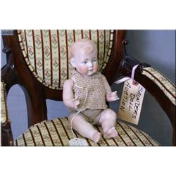 """10"""" rare all-bisque baby doll, no cracks or hairlines, blue painted eyes, nice hand crocheted outfit"""