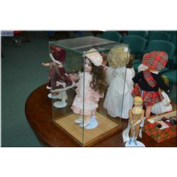 """Glass doll case on wooden base 20"""" X 12"""" X 12"""""""