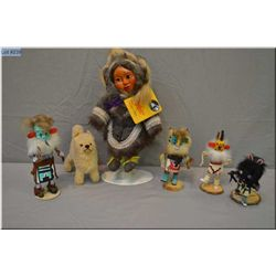Selection of vintage dolls including carved Naber Kids doll by Harold Naber circa late 70's in Inuit