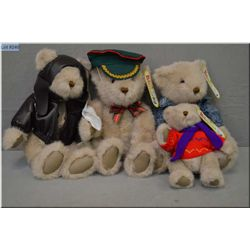 Four Gund Bialosky collectible bears including Aviator, bear in demin jacket, bear with peaked cap a