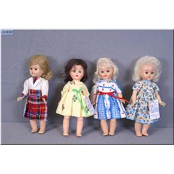 """Four vintage 8"""" hard plastic """"Pam"""" dolls made by Fortune Toys including two Cosmopolitans, all with"""