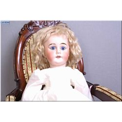 """18"""" Heinrich Handwerck bisque head doll marked 69 with blue threaded fixed glass eyes on composition"""