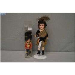 """Antique 10"""" painted bisque Armand Marseille 390 doll with blue sleep eyes, mohair wig on a composite"""