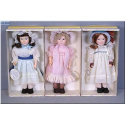 Three boxed vintage Effanbee dolls including Lesley, Laurel and Christina