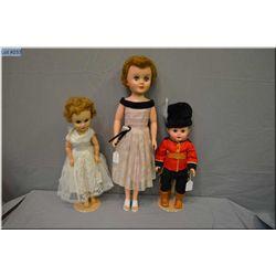 "Three vintage dolls including 23"" Arrow bride doll with sleep eyes, saran wig and original outfit, a"