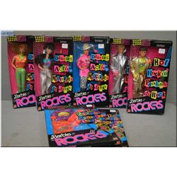 Five Barbie and the Rockers new in package Barbie dolls including Barbie, Dana, Derek, Ken and Diva