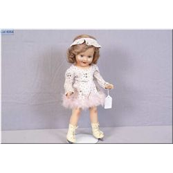 """Vintage 15"""" Reliable Barbara Ann Scott composition doll with original mohair wig, skates and outfit,"""