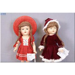 """Two vintage composition dolls including 14"""" unmarked Reliable doll with mohair wig, original outfit"""