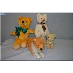 "Four vintage plush toys including English ""Jungle Toys"" cat, jointed bear, dog etc."