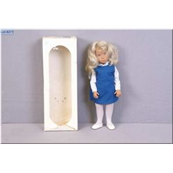 Vintage Sasha doll # 115S with box, blonde in blue tunic with small silver wrist tag. Auction estima