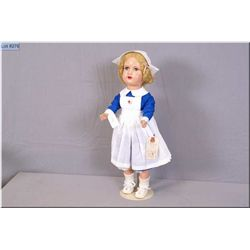 """Vintage 18.5"""" Reliable Eaton's Beauty composition doll with blonde mohair wig and blue tin eyes, ope"""