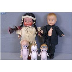 Selection of dolls including composition Reliable native doll in costume, composition boy doll and t