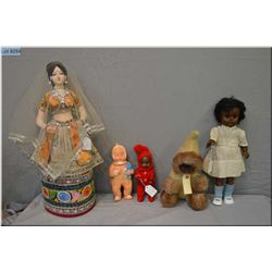 """A selection of vintage dolls including large cloth Indian doll 22"""", Koweeka baby by Dee & Cee Eskimo"""
