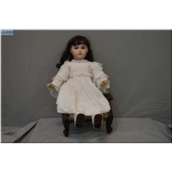 """Large and beautiful 31"""" French open mouth Bebe Jumeau 1907 bisque head doll , with set brown glass s"""