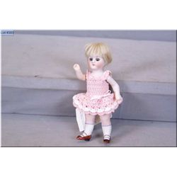 """Antique 6"""" German All-bisque with original mohair wig, sleep eyes, painted shoes and socks and repla"""