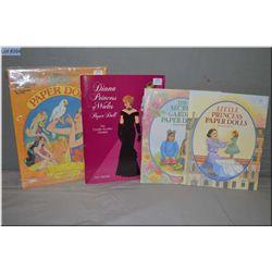 Four paper doll books including Little Princess Paper dolls, The Secret Garden paper dolls, Diana Pr