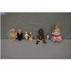 Selection of small vintage and antique dolls including glazed china and painted all-bisque tiny froz