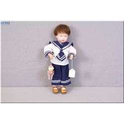 """Vintage 14"""" Schoenhut wooden boy with articulated body, human hair wig, nicely dressed. Note replace"""