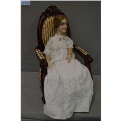 """Vintage 27"""" composition head, side glancing boudoir doll, with composition hands and feet on stuffed"""