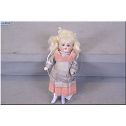 """Antique 5"""" All-bisque doll with sleep eyes, mohair wig and blue painted boots marked """"208-2"""" in orig"""
