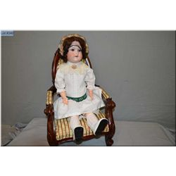 """25"""" Armand Marseille bisque head 390 doll on composition body with sleep eyes, mohair wig, good bisq"""