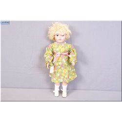 """Vintage 17"""" wooden fully articulated Schoenhut girl with mohair wig. Note replacement of both hands"""