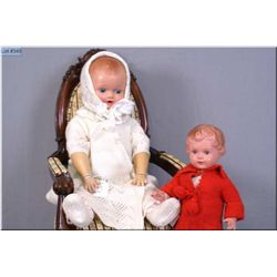 """Two vintage dolls including 14""""-15"""" German Turtlemark boy doll, note repaired left foot and a 22"""" ce"""