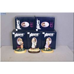 Five boxed Jan Hagara Collectibles little edition figures including two Holly, two Jessica and James