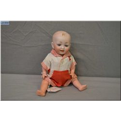 """9"""" bisque head German doll on composition baby body with painted hair, set blue glass eyes, great bi"""