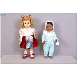 """Vintage 20"""" Mattel Chatty Cathy circa 1961 with original shoes and Chatty baby brother, note both no"""