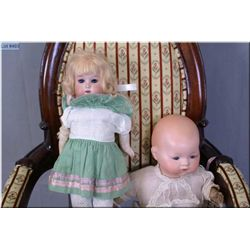 """Two antique bisque dolls including 12"""" Armand Marseille Dream baby with bisque head, sleep eyes on c"""