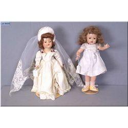 "Two vintage composition dolls including 15"" Madame Alexander with Princess Elizabeth face mold, moha"