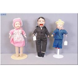 """Three vintage dolls including 15"""" composition Kenny Tok by Reliable circa 1940, rare composition and"""