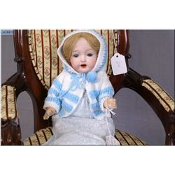 """Antique 12"""" bisque head baby doll by Morimura Bros. on composition body, damage to right thumb, slee"""