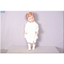 """27"""" Turtlemark celluloid doll with glass sleep eyes and molded hair. Great shape, some paint loss to"""