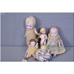 Selection of dolls including all bisque imp, three bisque babies and a small angel, all with good bi
