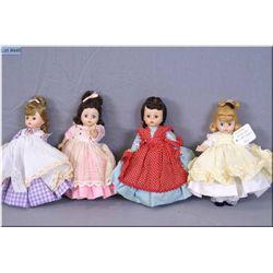 "Four vintage Madame Alexander 8"" hard plastic dolls from the ""Little Women"" series including Meg, Jo"